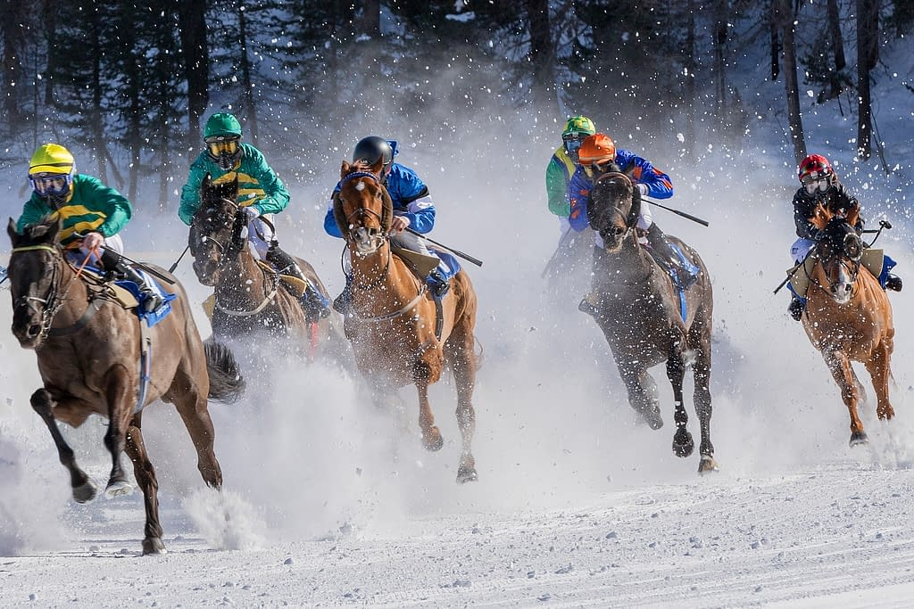 Horses racing in the now
